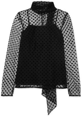 Erdem Yvonna Polka-dot Flocked Tulle Blouse - Black