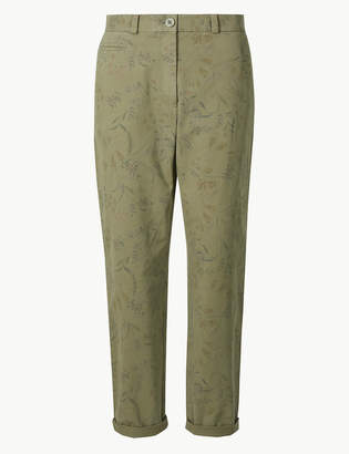 Marks and Spencer Floral Print Tapered Leg Ankle Grazer Chinos