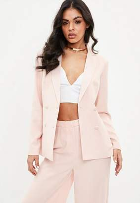 Missguided Blush Satin Lapel Double Breasted Blazer