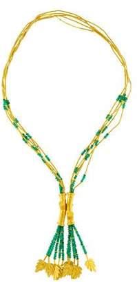 24K Emerald Leaf Necklace