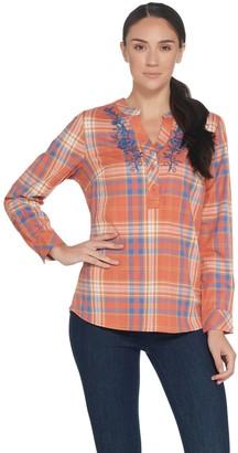 Denim & Co. Stretch Plaid Herringbone Shirt with Embroidery