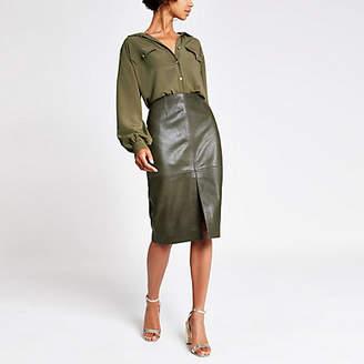River Island Dark green leather pencil skirt