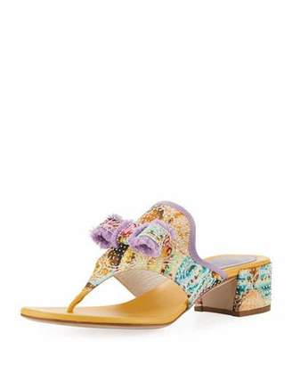 Rene Caovilla Floral Thong Sandal with Bow