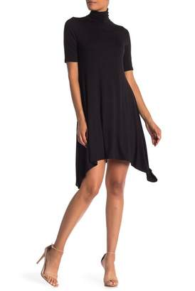 Velvet Torch Short Sleeve Mock Neck Skater Dress