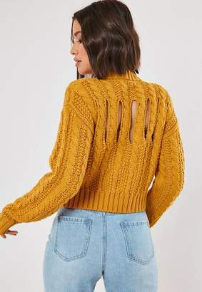 Missguided Mustard Open Back Cable Knit Cropped Sweater