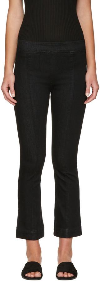 Helmut LangHelmut Lang Black Pull-On Crop Flare Trousers