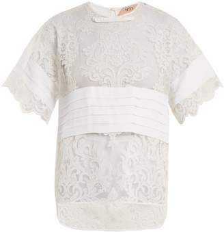 No.21 No. 21 - Crepe Panelled Lace T Shirt - Womens - White