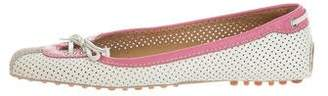Car Shoe Perforated Leather Flats