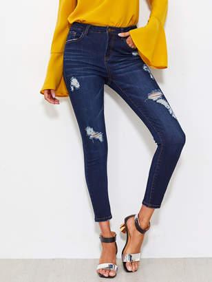 Shein Dark Wash Shredded Jeans