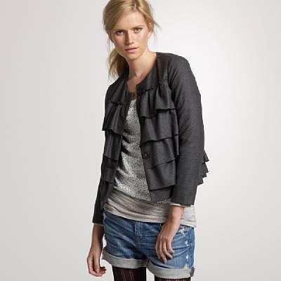 Flannel ruffle cascade jacket