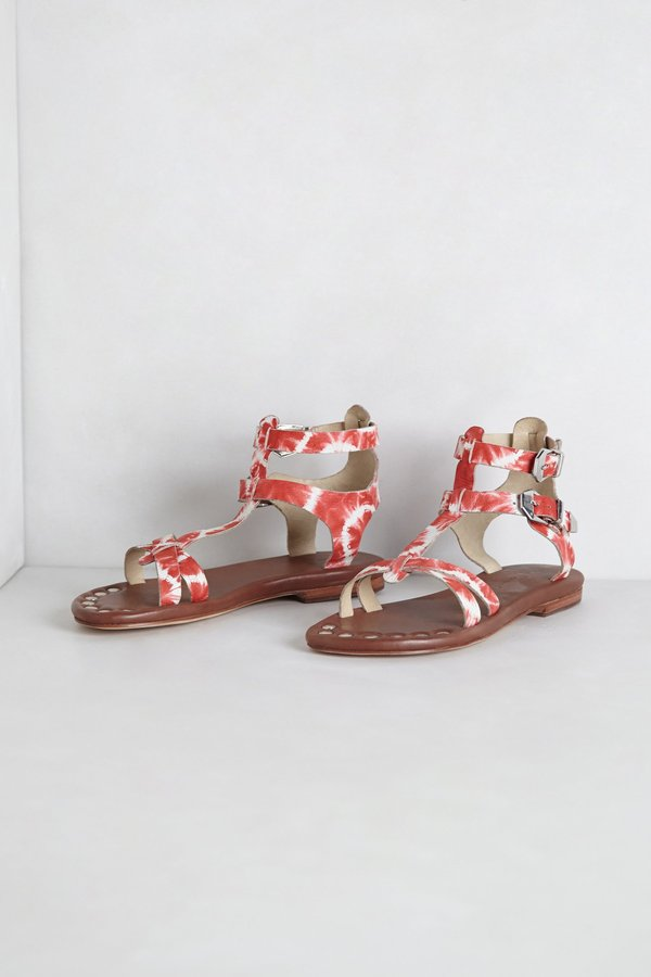Anthropologie Leather Tie-Dye Gladiators