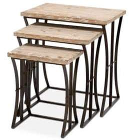 Fir Wood Rectangular Nesting Tables/Set of 3