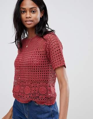 Oasis crochet top in red