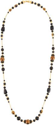 Jose & Maria Barrera Long Black & Golden Beaded Necklace