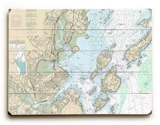 Longshore Tides 'ME: Portland, ME Nautical Chart Sign' Graphic Art Print on Wood