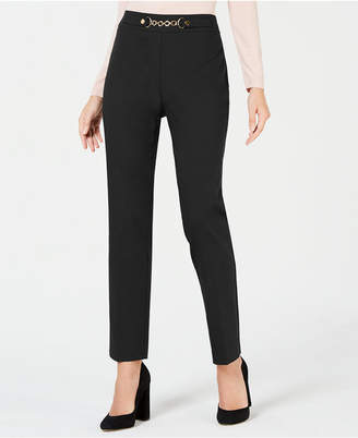 JM Collection Petite Chain-Accent Pull-On Pants