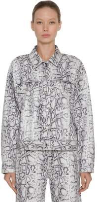 Alexander Wang Snake Print Cotton Denim Jacket