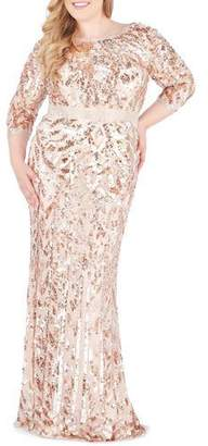 Mac Duggal Bateau-Neck 3/4-Sleeve Sequin Column Gown, Plus Size
