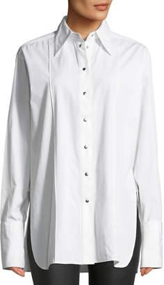 Helmut Lang Point-Collar Snap-Front Long-Sleeve Cotton Shirt