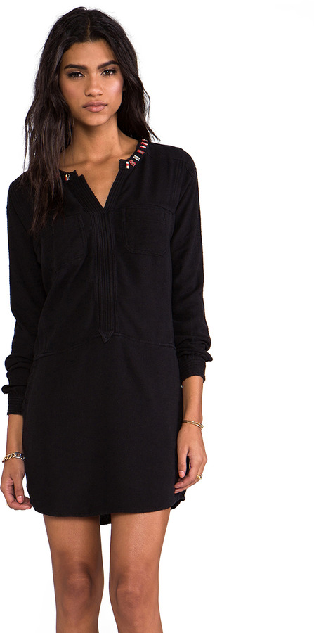 Maison Scotch Long Sleeve Mini Dress with Embellished Collar
