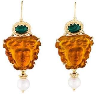 Tagliamonte Malachite & Pearl-Accented Medusa Cameo Earrings