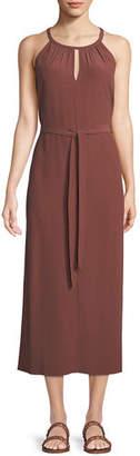 Eileen Fisher Sleeveless Long Viscose Crepe Halter Dress, Petite