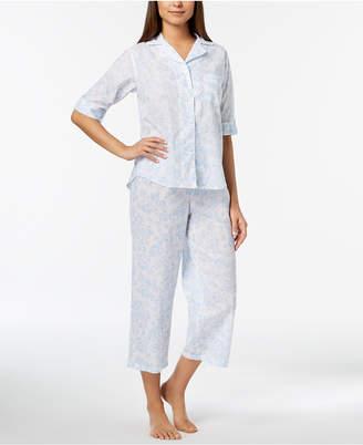 Miss Elaine Rose-Print Cropped Pajama Set