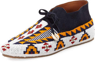 Figue Wolf Beaded Suede Moccasin
