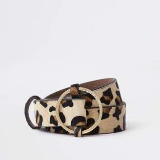 River Island Beige leopard print circle buckle belt