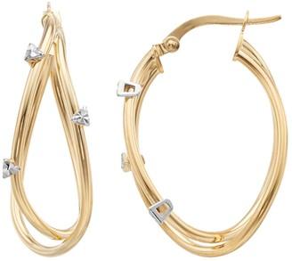 14K Gold Teardrop Hoop Earrings