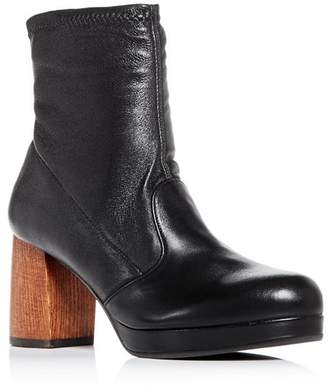 Chie Mihara Women's Quisu Leather Block-Heel Platform Booties