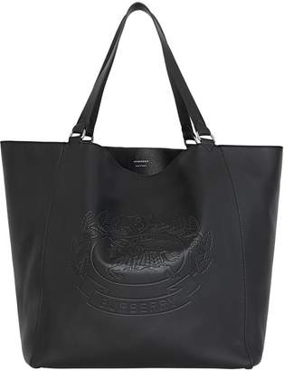 Burberry Large Embossed Crest Bonded Leather Tote