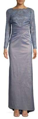 Tadashi Shoji Scalloped Lace Long-Sleeve Gown