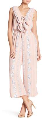 Romeo & Juliet Couture Lace-Up Ruffled Jumpsuit