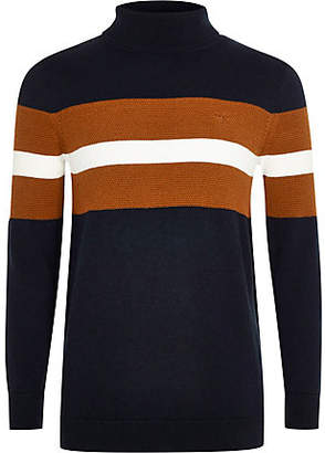 River Island Boys navy color block roll neck sweater