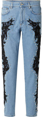Moschino Lace-appliquéd And Crystal-embellished Boyfriend Jeans - Blue