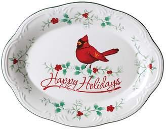 "Pfaltzgraff Winterberry ""Happy Holidays"" Cardinal Platter"