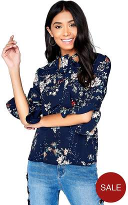 Girls On Film Printed Bow Top - Navy