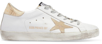 Golden Goose Deluxe Brand - Super Star Distressed Croc Effect-paneled Leather Sneakers - White $515 thestylecure.com