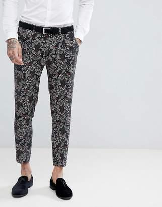 Devils Advocate Devil's Advocate Skinny Fit Floral Cropped Suit Pants