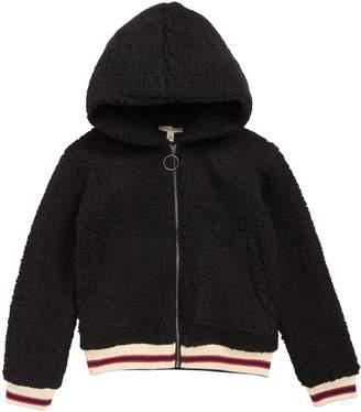 Tucker + Tate Cozy Faux Shearling Hooded Varsity Jacket