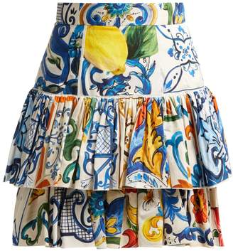 Dolce & Gabbana Majolica-print cotton-poplin mini skirt