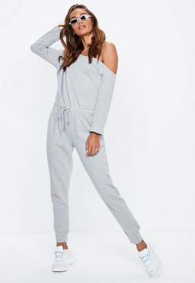 Missguided Off The Shoulder Romper Gray