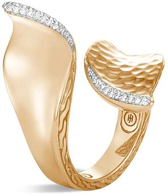 John Hardy 18K Yellow Gold Classic Chain Pavé Diamond Wave Hammered Bypass Ring