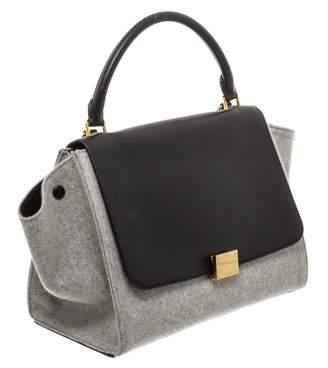 Celine Trapeze Grey Wool Handbags