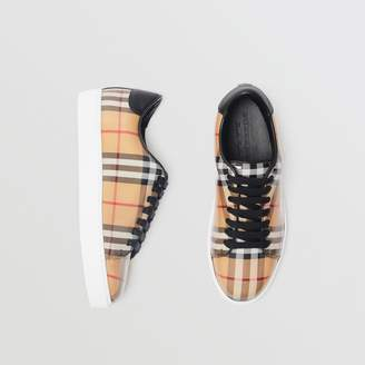 Burberry Vintage Check and Leather Sneakers , Size: 37