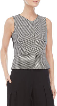 Derek Lam Cropped Houndstooth Peplum Shell Top