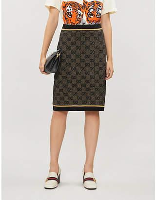 Gucci GG logo-pattern wool-blend midi skirt
