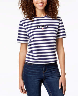 Rebellious One Juniors' Cotton Friday Embroidered T-Shirt