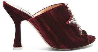 ATTICO The Debbie Crystal Embellished Velvet Mules - Womens - Burgundy